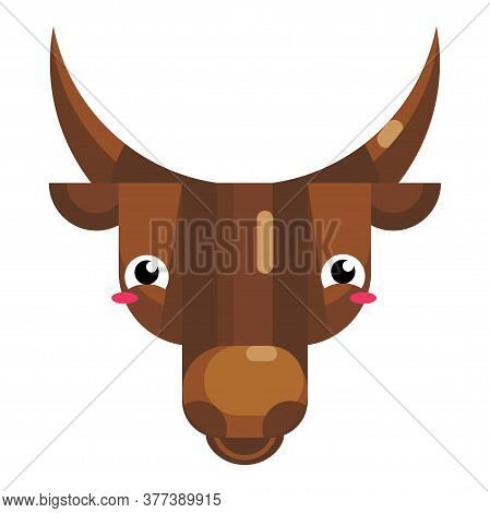 Bull Face Emoji, Happy Blushing In Embarrassment Cow Icon Isolated