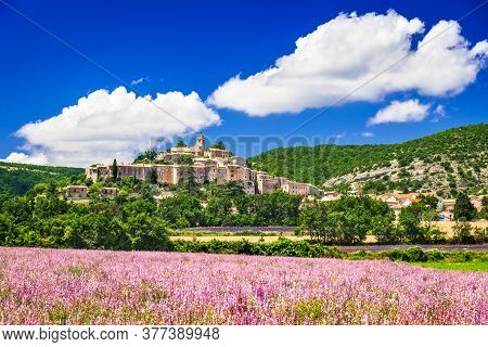 Banon Scenic Hilltop Village Provence With Lavender Fields In  France.