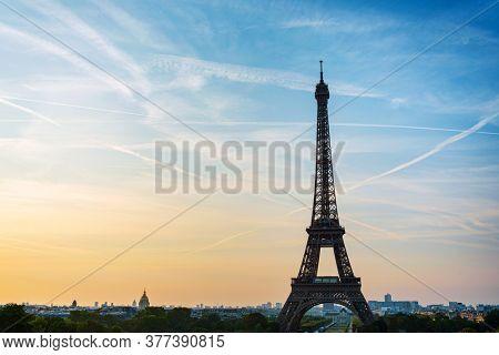 PARIS, FRANCE - August 22, 2019: Eiffel Tower is a wrought-iron lattice tower on the Champ de Mars in Paris, France.