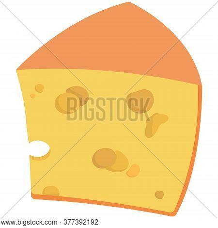 Piece Of Leaky Cheese. Milk Product In Cartoon Style.