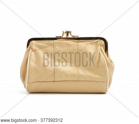 Women's Wallet Made Of Beige Genuine Leather Isolated On A White Background, Fashion Accessory, Gold