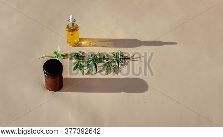 Glass Bottles And Dropper Cbd Oil, Thc Tincture And Cannabis Leafs On Pastel Background. Laboratory