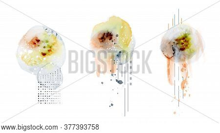 Abstract Geometric Modern Design Combined With Splatter Hand-painted Watercolor Isolated On White Ba