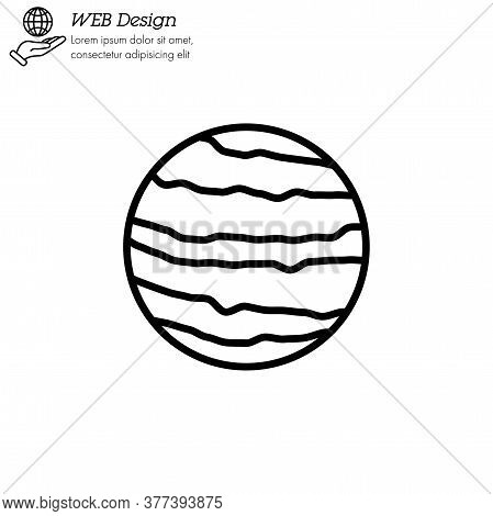 Venus Planet Icon Thin Line, Linear, Outline Vector. Venus Planet Simple Sign, Logo
