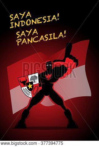 A Superhero Holding Big Pancasila Shield, Marks The Date Of Sukarno's 1945 Address On The National I