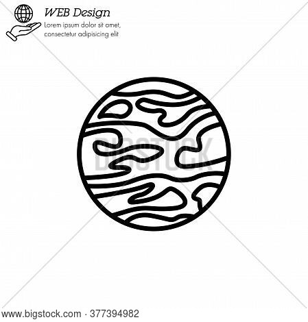 Mars Planet Icon Thin Line, Linear, Outline Vector. Mars Planet Simple Sign, Logo.