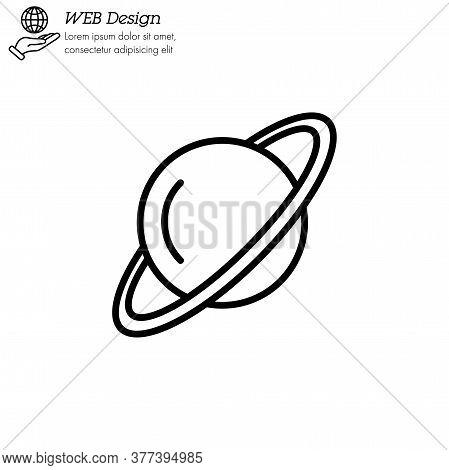 Uranus Planet Icon Thin Line, Linear, Outline Vector. Uranus Planet Simple Sign, Logo.