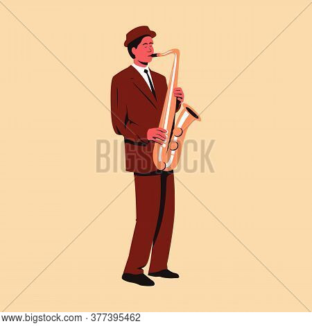 Male Musician Playing Saxophone. Flat Vector Illustration Of A Man Performing Solo On Stage Playing