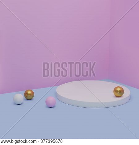 3d Vector Illustration. Minimal Round Podium In Pink And Blue With Gold Balls. Background Abstract,