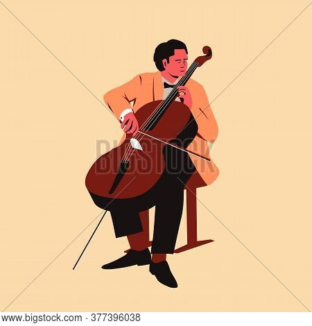 Male Musician Playing Cello. Flat Vector Illustration Of A Man Performing Solo On Stage Playing A Me