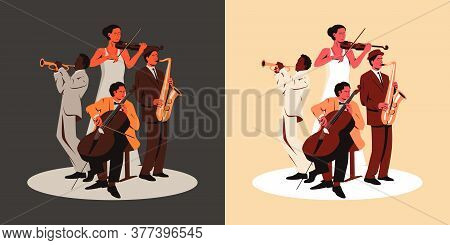 Multiracial Music Band Performing On A Stage. Vector Illustration Of Four Musicians With Trumpet, Vi