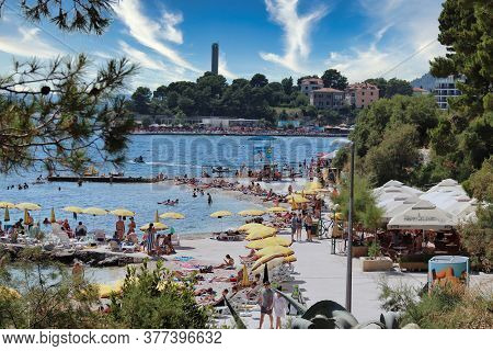 Split Croatia July 2019 Popular Beach In Split Filled With Tourists, Bacvice And Ovcice Beaches Over