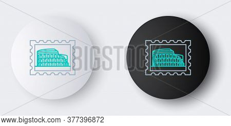 Line Postal Stamp And Coliseum Icon Isolated On Grey Background. Colosseum Sign. Symbol Of Ancient R
