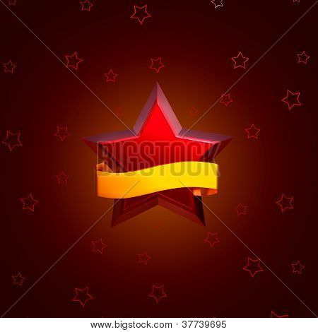 red stars on brown background