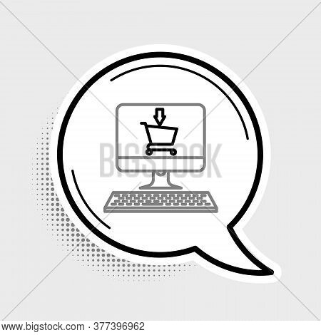 Line Shopping Cart On Screen Computer Icon Isolated On Grey Background. Concept E-commerce, E-busine