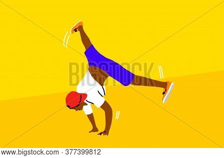Dance, Hip Hop, Sport, Competition, Performance, Recreation Concept. Young Athletic Man Guy B-boy Ca