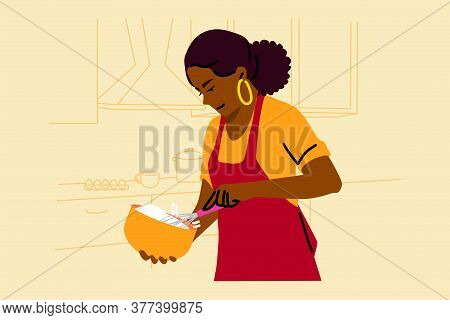 Cooking, Baking, Hobby, Food, Preparation Concept. Young Happy Smiling African American Woman Housew