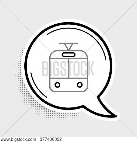 Line Tram And Railway Icon Isolated On Grey Background. Public Transportation Symbol. Colorful Outli