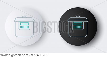 Line Slow Cooker Icon Isolated On Grey Background. Electric Pan. Colorful Outline Concept. Vector