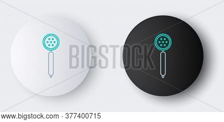 Line Strainer Spoon Icon Isolated On Grey Background. Colorful Outline Concept. Vector