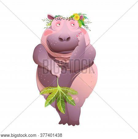 Body Positive Naked Shy Hippopotamus, Cute Poster Print Or Poster For Bathroom Design. Vector Cartoo