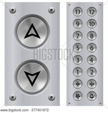 Elevator Buttons Panel And Call Buttons For Building Up And Down Each Floor With Arrow Symbol Displa