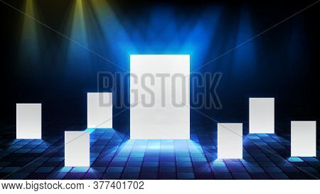 Abstract Background Of Glowing Light Multiple Door, Right Choice Business Concept