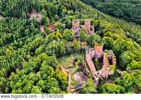 Lutzelbourg And Rathsamhausen Castles In The Vosges Mountains At Ottrott In Bas-rhin, France