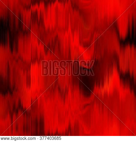 Blurry Red Black Gradient Glitch Abstract Artistic Texture Background. Wavy Irregular Bleeding Dye S