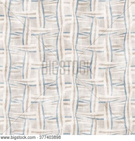 Seamless French Farmhouse Weave Stripe Pattern. Provence Blue White Linen Woven Texture. Shabby Chic