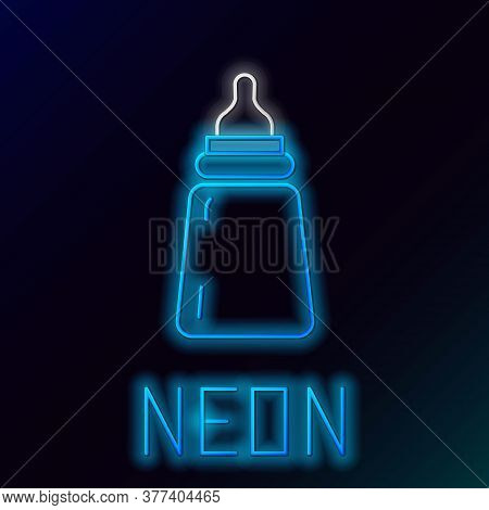 Glowing Neon Line Baby Bottle Icon Isolated On Black Background. Feeding Bottle Icon. Milk Bottle Si