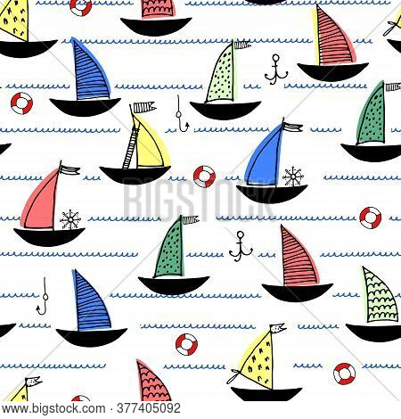 Seamless Pattern With Hand Drawn Sailing Boats, Anchors, Fishhooks, Safety Rings For Surface Design