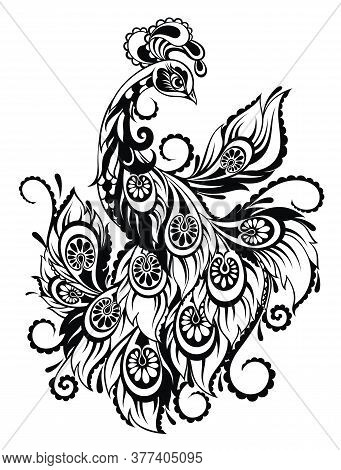 Peacock For Anti Stress Coloring Page With  Details