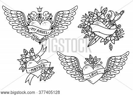 Set Of Heart Tattoos In Old School Style. Heart With Ribbon, Flowers And Word Mother. Tattoo Flying