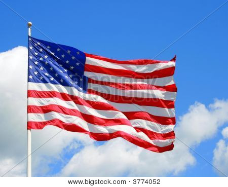 Us Flag Blowing In The Wind