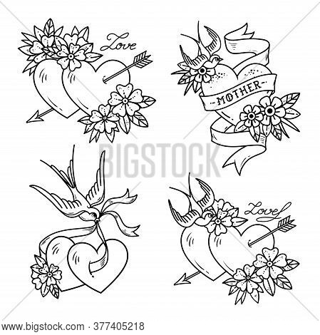 Set Of Heart Tattoos With Birds.old School Style. Two Hearts Pierced By Arrow. Tattoo Hearts With Fl