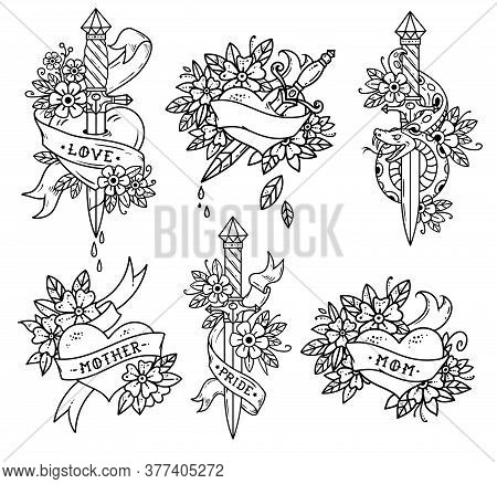 Collection Of Heart Tattoos In Old School Style. Heart With Ribbon, Flowers And Words Mom, Mother, L