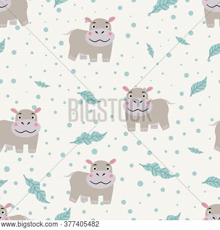 Seamless Pattern With Cute Hippo Character. Vector Background For Kids Design.
