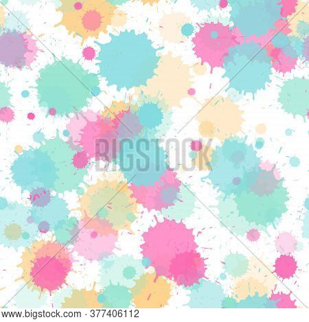 Paint Transparent Stains Vector Seamless Grunge Background. Sprawling Ink Splatter, Spray Blots, Dir