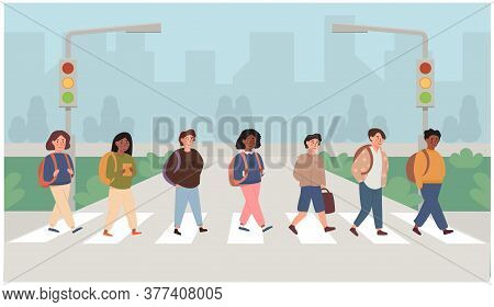 Mix Race, Multi Ethnic Children Crossing Street Along Crosswalk. School Pupil Walking Across Pedestr