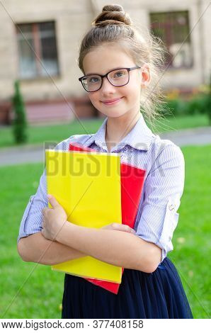 Back To School. Education Concept. Cute Smiling Schoolgirl In Glasses Outdoor. Happy Little Girl Chi