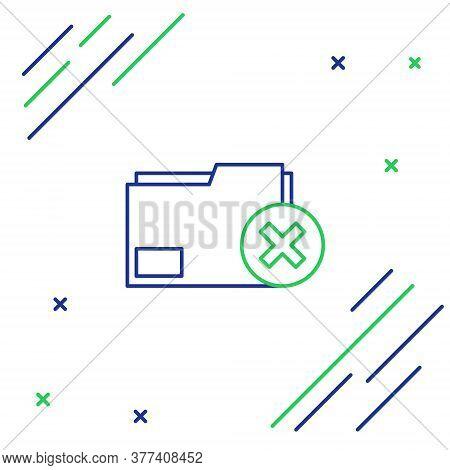 Line Delete Folder Icon Isolated On White Background. Delete Or Error Folder. Close Computer Informa