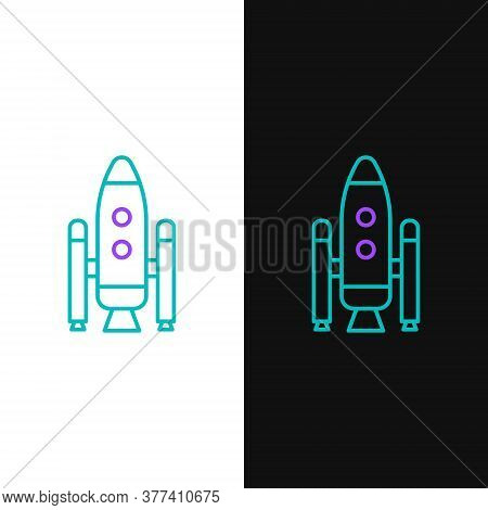 Line Space Shuttle And Rockets Icon Isolated On White And Black Background. Colorful Outline Concept