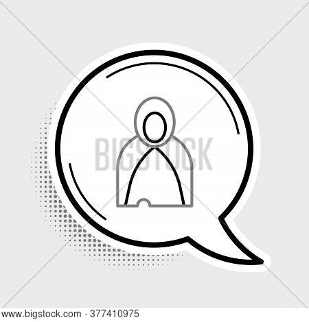 Line Mantle, Cloak, Cape Icon Isolated On Grey Background. Magic Cloak Of Mage, Wizard And Witch For