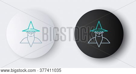 Line Wizard Warlock Icon Isolated On Grey Background. Colorful Outline Concept. Vector