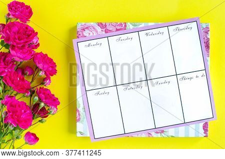 Planning Of Important Things, Pink Writing Instruments On A Colored Background. Things To Do.