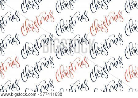 Seamless Pattern Of Handwritten Modern Brush Calligraphy Christmas For Wrapper Christmas Gifts Isola