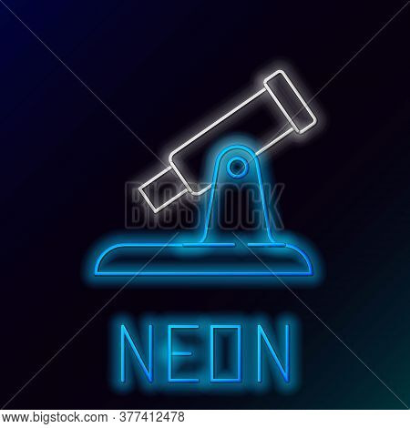 Glowing Neon Line Telescope Icon Isolated On Black Background. Scientific Tool. Education And Astron