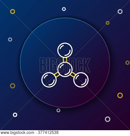 Line Molecule Icon Isolated On Blue Background. Structure Of Molecules In Chemistry, Science Teacher