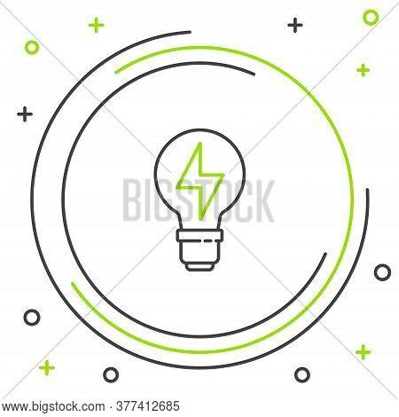 Line Light Bulb With Lightning Symbol Icon Isolated On White Background. Light Lamp Sign. Idea Symbo